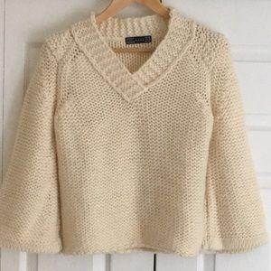 Zara Open Weave Bell Sleeve Cream Chunky Sweater